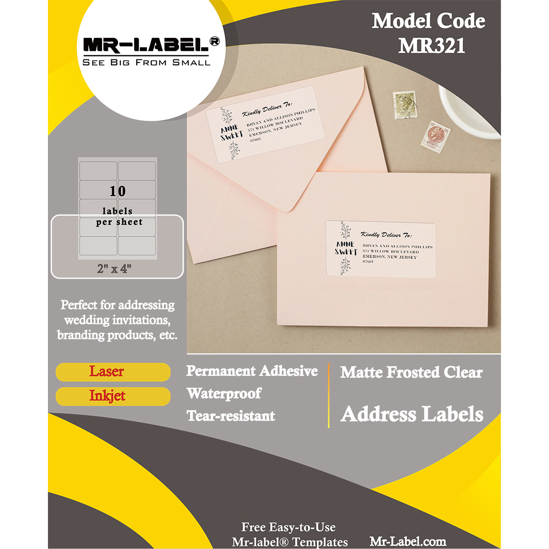 Mr Label 2 X 4 Translucent Address Labels Waterproof And Tear Resistant For Inkjet Laser Printer Permanent Adhesive For Frosted Glass Envelope Mr Label